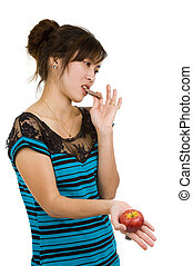 woman with chocolate and apple