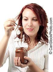 Woman with Chocolate Spread - Greedy Woman Taking Chocolate...