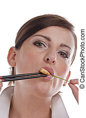 Woman with chopsticks