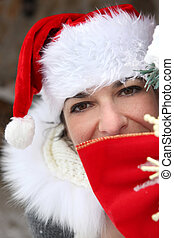 Woman with Christmas cap