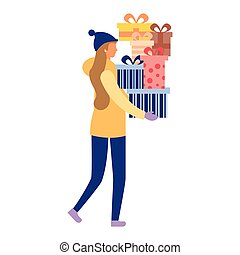 woman with christmas gift boxes celebration