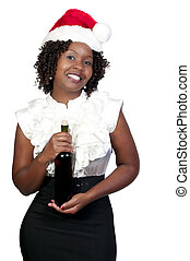 Woman with Christmas Holiday Wine