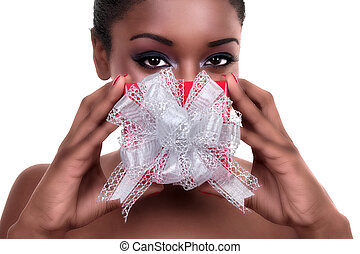 Woman with Christmas or Valentine Gift - African American ...