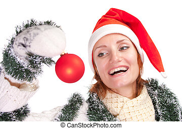 Woman with christmas ornament
