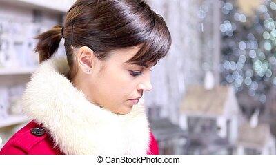 woman with Christmas present gift