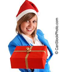 Woman with christmas present