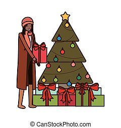 woman with christmas tree and gifts boxs