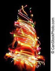 Woman with Christmas Tree Lights