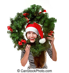 Woman with Christmas wreath on white background