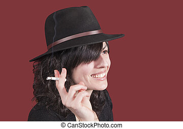 woman with cigar, laughing
