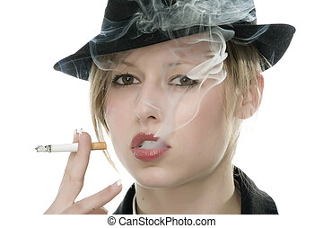 woman with cigarette in mouth