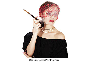 woman with cigarette in mouthpiece in veil