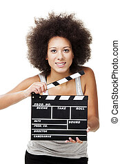 Woman with clapboard - Beautiful african american woman...