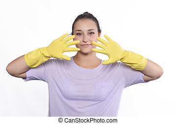 Woman with cleaning gloves