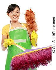 woman with cleaning sweep - portrait of beautiful woman with...