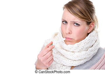 Woman with clinical thermometer