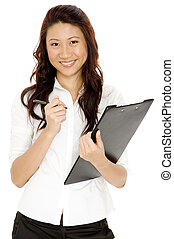 Woman With Clipboard - A pretty asian businesswoman carrying...