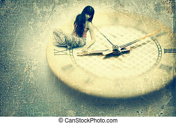 Woman with clock dial - Young woman want to stop time. Old...