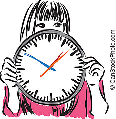 woman with clock time concept illus
