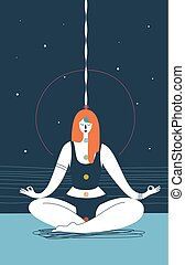 Woman with closed eyes and seven chakras of different colors sits in yoga position and meditates against blue background. Concept of physical health and meditation. Vector illustration for poster.