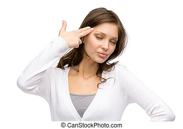 Woman with closed eyes hand gun gesturing