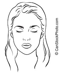 Woman with closed eyes vector - Beautiful woman with closed...