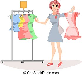 Woman with cloths.