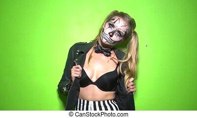 Woman with clown skull Halloween makeup