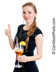 Woman with cocktail. Isolated on white.