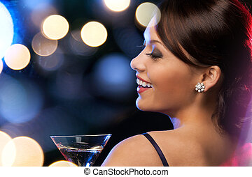 woman with cocktail - luxury, vip, nightlife, party concept...