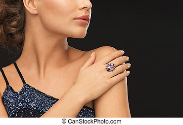 woman with cocktail ring - beautiful woman in evening dress...