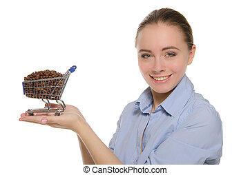 Woman with coffee beans in shopping trolley