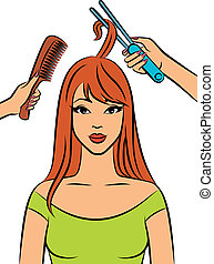 Woman with coiffure in a beauty salon.