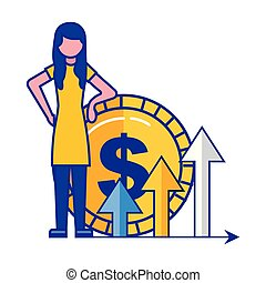 woman with coin dollar arrows growth business