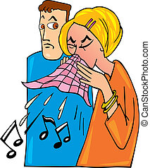 Woman with cold - Cartoon illustration of woman with cold...