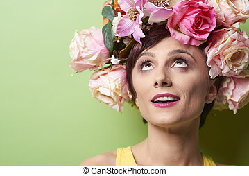 Woman with colorful flowers on her head