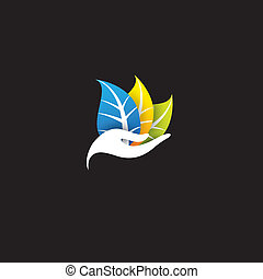 woman with colorful leaves - spa or eco concept vector icon