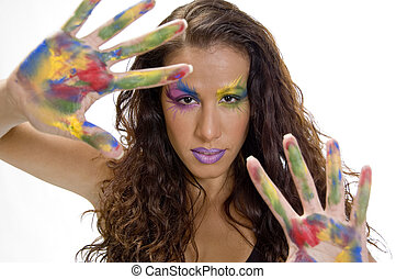 woman with colorful make up