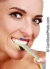 woman with colorful ribbon candy - isolated woman with...