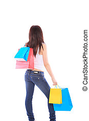 Woman with colorful shopping bags