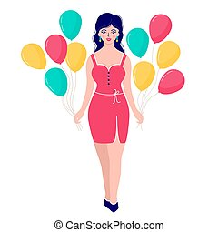 woman with colorfull balloons