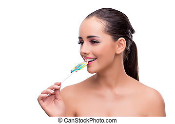Woman with colourful lollipop isolated on white