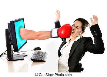 woman with computer hit by boxing glove social media cyber...