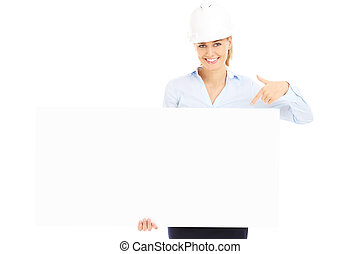 Woman with construction banner