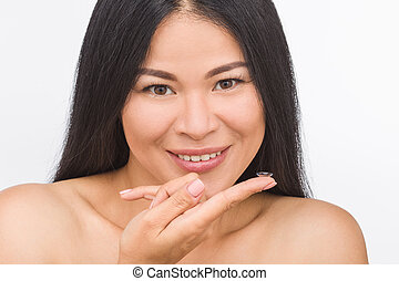 Woman with contact lenses