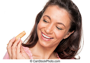 Woman with cookie
