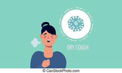 woman with coronavirus dry cough symptom character ,4k video animated