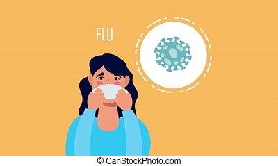 woman with coronavirus flu symptom character ,4k video animated