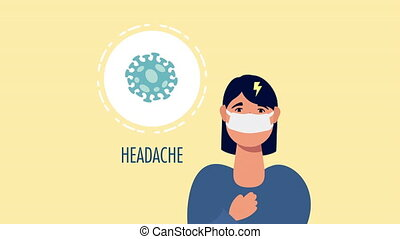 woman with coronavirus head aches symptom character ,4k video animated