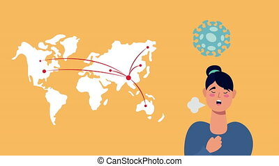woman with coronavirus symptom and world planet ,4k video animated